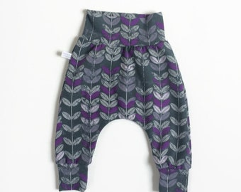 Baby harem pants with purple leaves