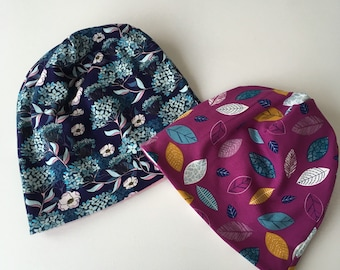 Beanie hat, slouchy hat. Kids to adult sizes. Pick your fabrics. Reversible beanie hat