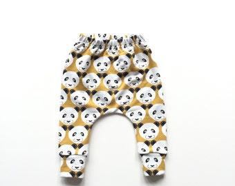 Yellow baby infant harem pants with pandas