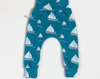 Teal baby harem pants with boats