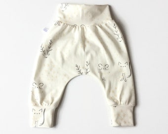 Soft white baby harem pants with cats and mice