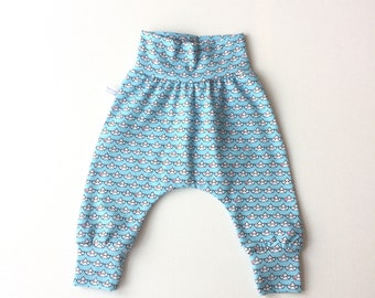 Light blue baby harem pants with boats and red hearts