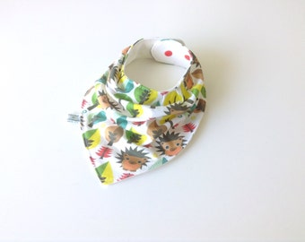 Baby bandana bib with hedgehogs
