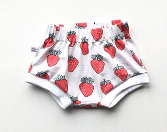 White baby or toddler shorts with strawberries
