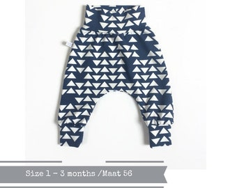 Blue harem pants with white triangles. Size 1 - 3 months.