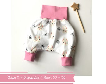 White bubble pants with rabbits. Size 0 - 3 months