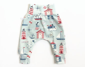 Blue harem pants with boats and lighthouses