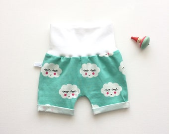 Mint baby or toddler shorts with sleeping clouds