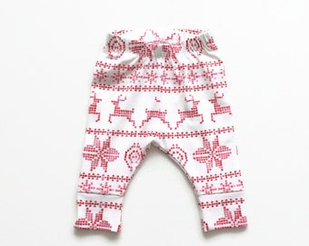 White leggings with red fair isle pattern