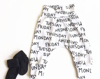 Baby harem pants with weekdays