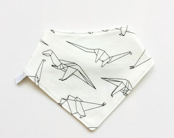 Baby bandana bib with origami dinosaurs