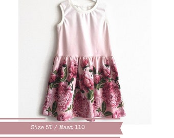 Girl's dress with peonies. Summer dress. Size 5T