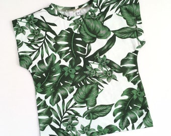 Baby or toddler shirt with green leaves and flowers