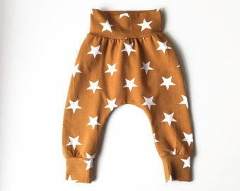 Yellow baby harem pants with stars