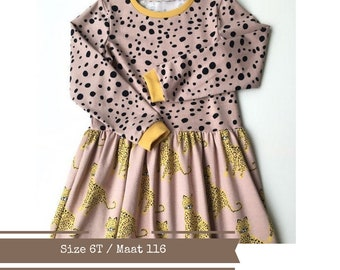 Girl's dress with leopards and dots. Organic cotton. Size 6T