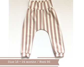 White and pink baby harem pants with stripes. Organic. Size 18 - 24 months