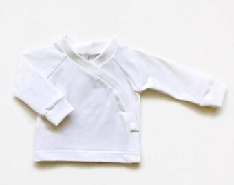 Organic baby kimono wrap shirt