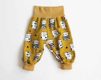 Yellow bubble pants with cute cats