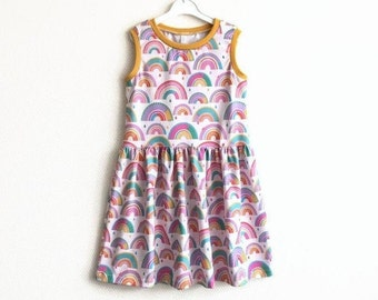 Girl's dress with rainbows