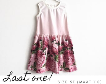 Girl's dress with peonies. Summer dress