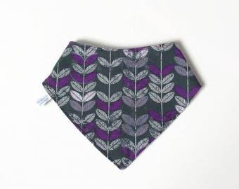 Gray baby bandana bib with purple leaves
