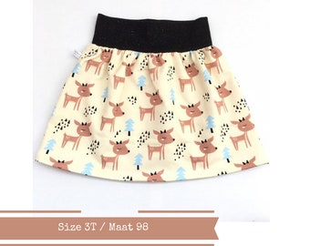 Last one: Yellow skirt with deer and trees, size 3T