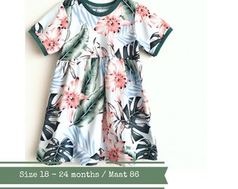 Girls dress with short sleeves, size 18 - 24 months