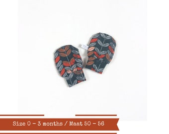 Grey baby mittens with orange leaves, size 0 - 3 months