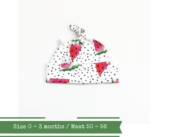 White hat with dots and watermelons, 0 - 3 months
