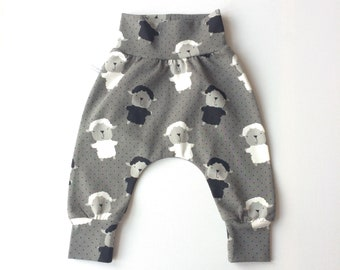 Grey harem pants with dots and sheep
