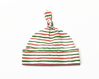 White hat with green and red stripes