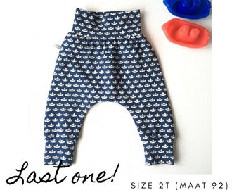 Blue baby harem pants with boats and red hearts