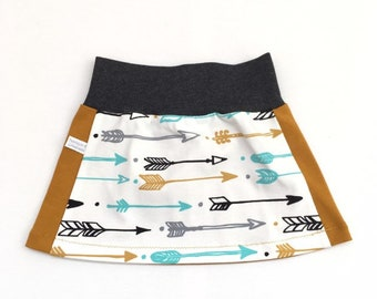 Baby skirt. Grey waist band. Skirt with arrows. Sizes 3 - Months. Girl's skirt, small skirt.