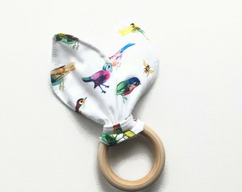 Baby teething ring with water color birds