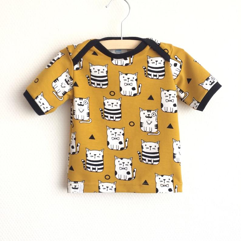 Yellow baby lap neck shirt with cats Mustard yellow toddler t-shirt Oeko-tex cotton Kid/'s top Cotton knit fabric Kittens shirt