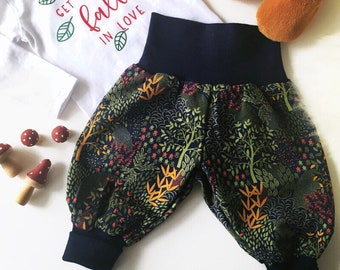 Pants and bodysuit. Dark blue harem pants with twigs. Size 3 - 6 months. Ready to ship