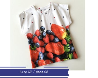 Toddler shirt with fruit. 3T. Infant leaves t-shirt. Cotton top. Fruit shirt