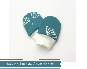 Petrol organic baby scratch mitts. Size 0 - 3 months