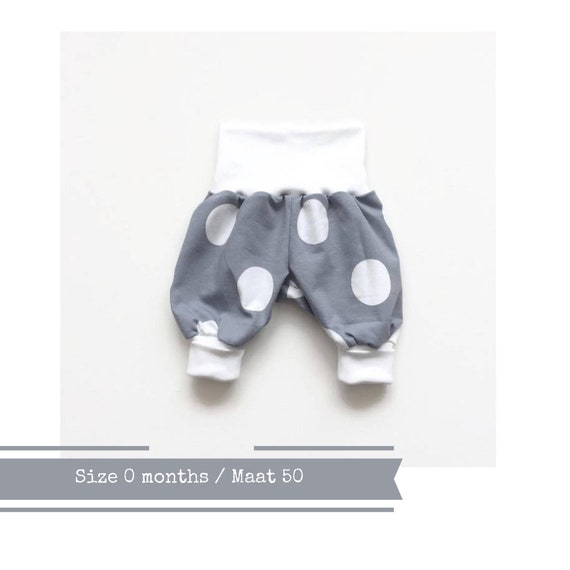 White organic bubble pants Organic cotton Harem pants Girl boy Comfy slouchy infant pants White fold over waistband and cuffs