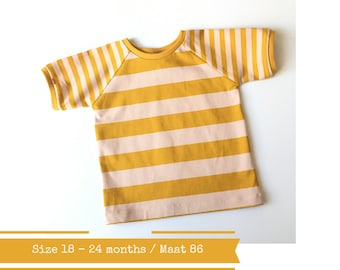 Shirt with stripes. Size 18 - 24 months. Toddler t-shirt with yellow and pink stripes