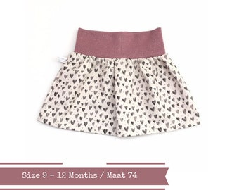 Last ones: Beige baby or toddler skirt with hearts. Size 9 - 12 months. Ready to ship
