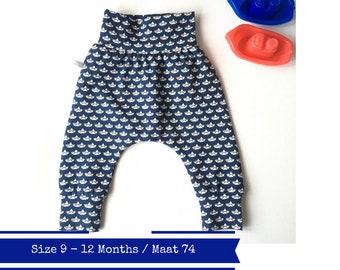 Blue baby harem pants with boats and red hearts. Size 9m