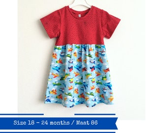 Girls dress with airplanes. Size 18 - 24 months