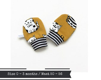 Yellow baby mittens with cats, size 0 - 3 months