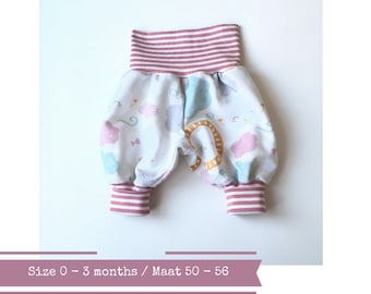 Grey bubble pants with clouds and sun. Size 0 - 3 months