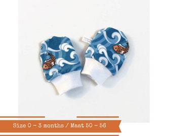 Blue baby scratch mitts with fish. Size 0 - 3 months