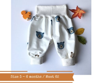White harem pants with bears. Size 3 - 6 months