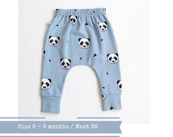 Blue harem pants with pandas. Size 6 months
