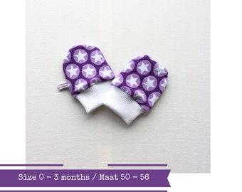 Purple baby mittens. Size 0 - 3 months