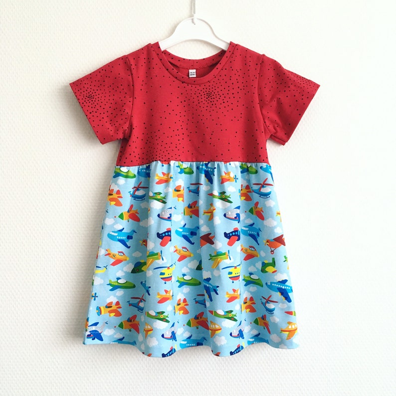 skater dress Dots and planes dress Size 18-24 months Cotton jersey fabric Girls dress with airplanes Toddler dress